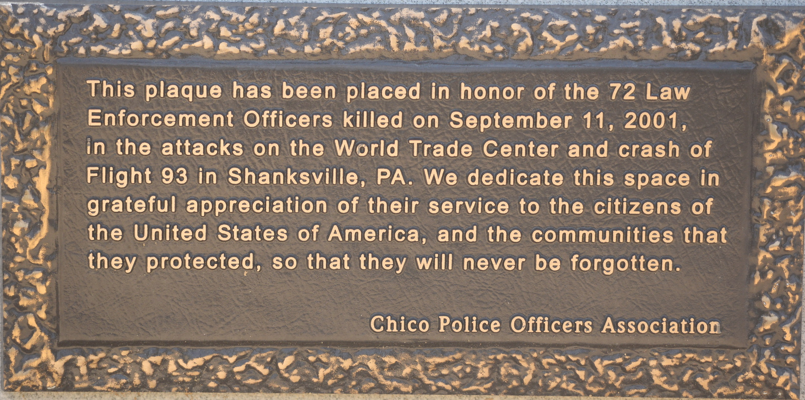 A plaque is seen honoring the 72 Law Enforcement Officers killed on Sept. 11, 2001 during the attacks on the World Trade Center and Flight 93 in Shanksville, PA during the 9/11 memorial observance at Chico Fire Station Five on Manzanita Ave. in Chico, Calif. Monday Sept. 11, 2017. (Bill Husa -- Enterprise-Record)
