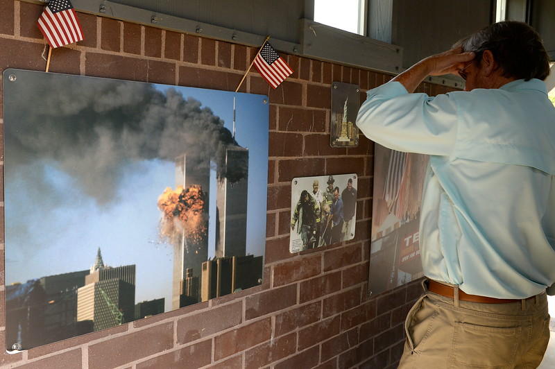 A photo seen inside of the 9/11 memorial serves as a reminder of the events that occurred Sept. 11, 2001 seen during the 9/11 memorial observance at Chico Fire Station Five on Manzanita Ave. in Chico, Calif. Monday Sept. 11, 2017. (Bill Husa -- Enterprise-Record)
