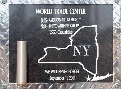 A plaque remembering the 2753 casualties of the World Trade Center on Sept. 11, 2001 is seen during the 9/11 memorial observance at Chico Fire Station Five on Manzanita Ave. in Chico, Calif. Monday Sept. 11, 2017. (Bill Husa -- Enterprise-Record)