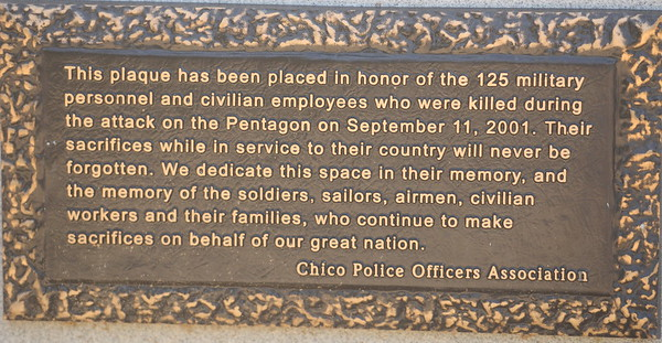 A plaque is seen honoring the 125 military and civilian employees killed during the attack on the Pentagon during the 9/11 memorial observance at Chico Fire Station Five on Manzanita Ave. in Chico, Calif. Monday Sept. 11, 2017. (Bill Husa -- Enterprise-Record)