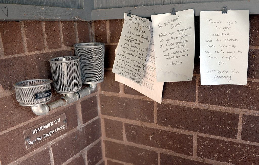 . Thoughts and feelings are seen posted inside of the 9/11 memorial prior to the 9/11 memorial observance at Chico Fire Station Five on Manzanita Ave. in Chico, Calif. Monday Sept. 11, 2017. (Bill Husa -- Enterprise-Record)