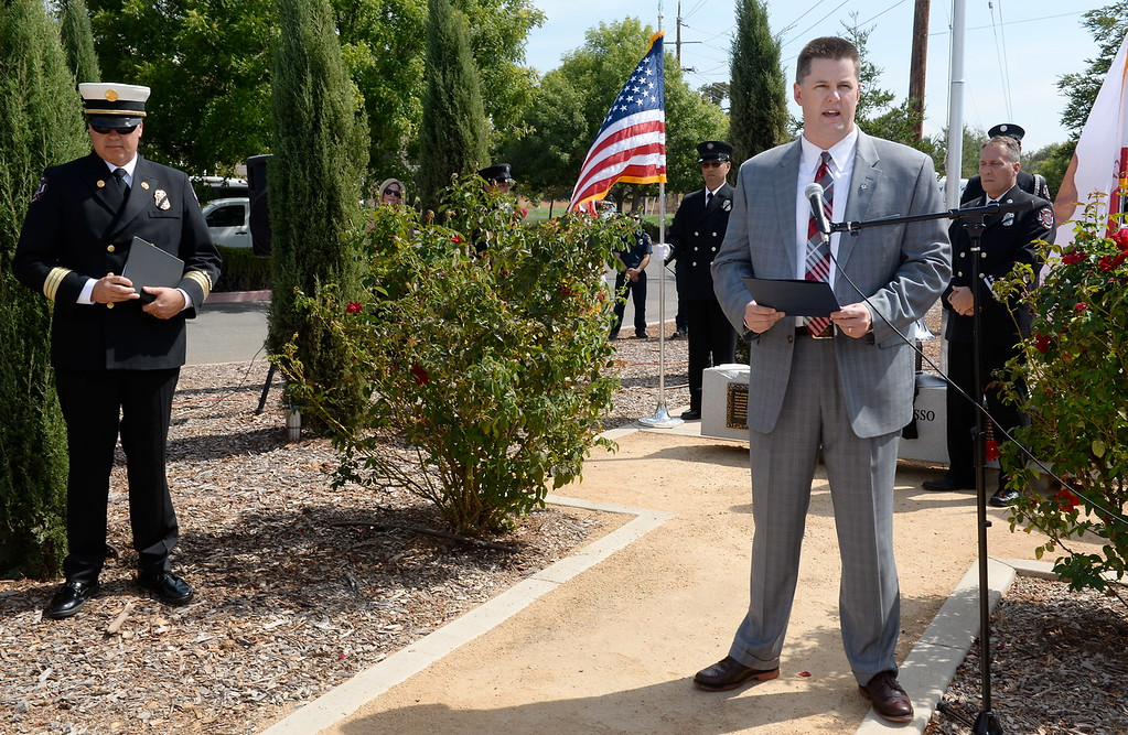 . City of Chico Mayor Sean Morgan speaks to the crowd during the 9/11 memorial observance at Chico Fire Station Five on Manzanita Ave. in Chico, Calif. Monday Sept. 11, 2017. (Bill Husa -- Enterprise-Record)
