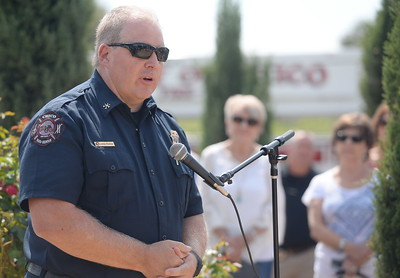 Chico Fire Division Chief John Kelso speaks during the 9/11 memorial observance at Chico Fire Station Five on Manzanita Ave. in Chico, Calif. Monday Sept. 11, 2017. (Bill Husa -- Enterprise-Record)