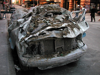 Flattened vehicles in Tribeca.