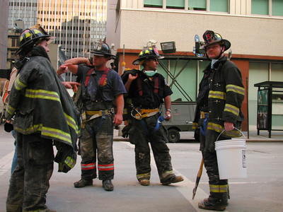 Firefighters taking a break.