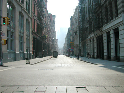 Deserted streets of SOHO on the afternoon of 911. These streets would normally be jammed with people and cars.