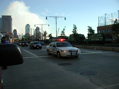 The President Busch motorcade leaving Ground Zero.
