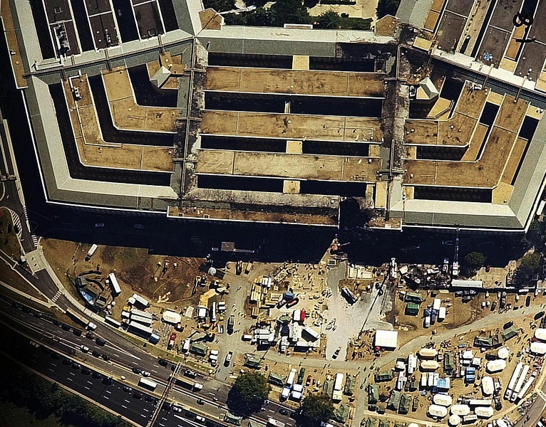 FILE - This undated aerial photo provided by the FBI shows damage caused by a hijacked airliner that crashed into the Pentagon in Washington on Sept. 11, 2001. (AP Photo/FBI)