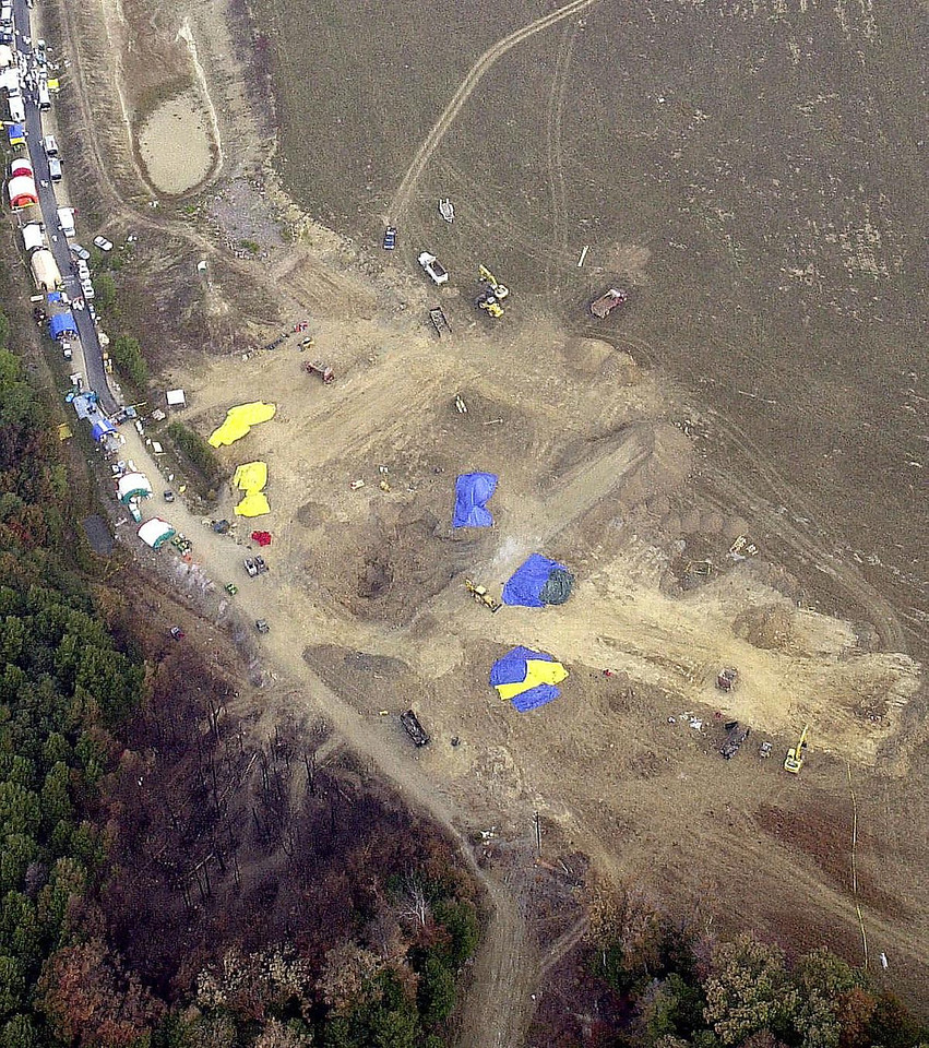 FILE - This Wednesday, Sept. 19, 2001 aerial photo provided by the FBI shows the crash site of United Flight 93 near Shanksville, Pa. (AP Photo/FBI)