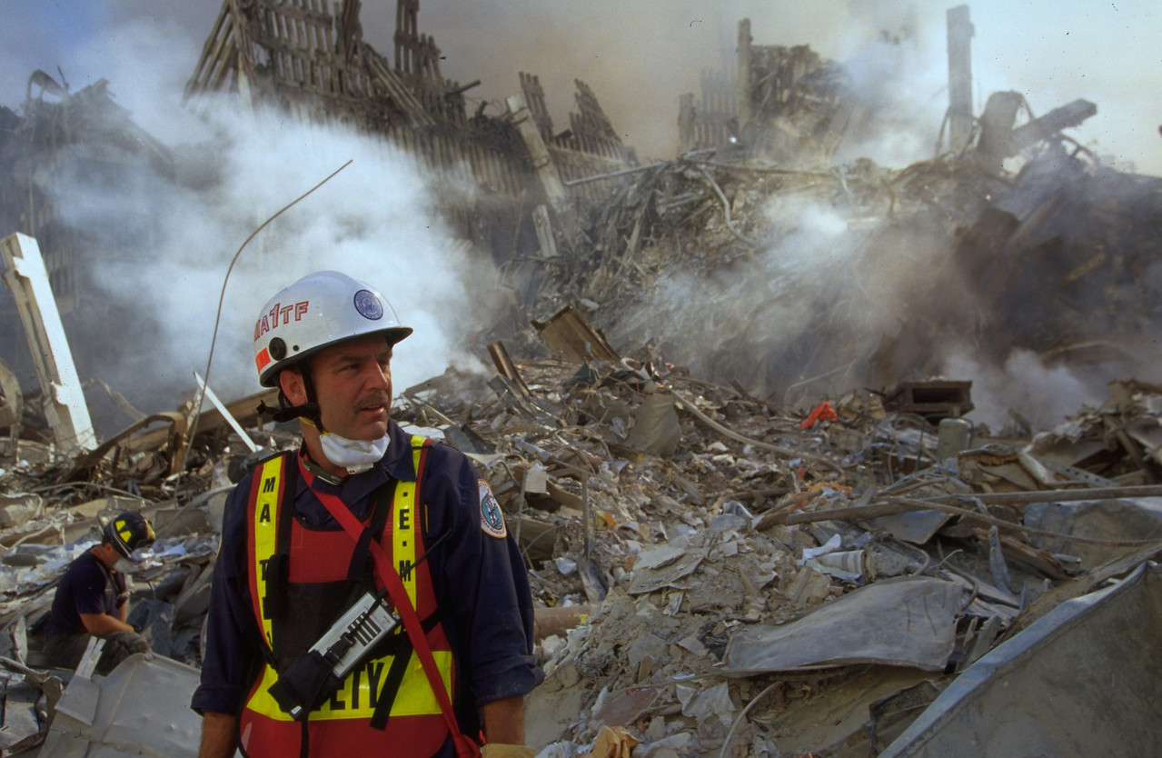 World Trade Center, New York 9-13-2001. Urban Search and Rescue specialists.<br /> Andrea Booher/FEMA News Photo