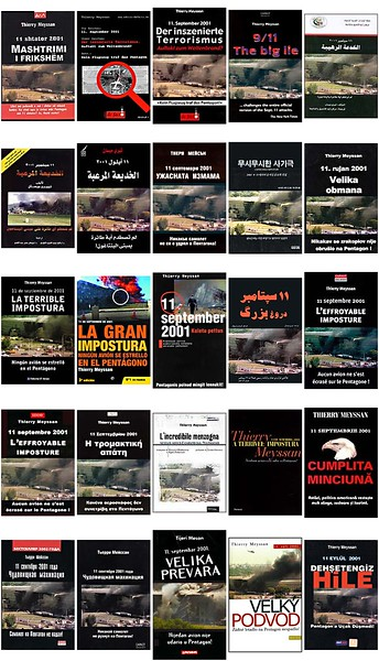 A number of Meyssan's book covers in different languages