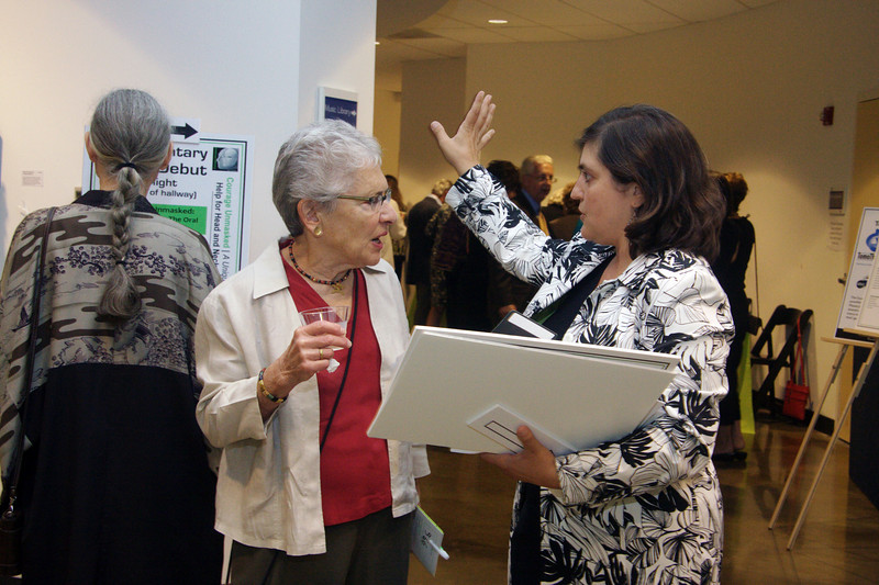 Artist Carol Radin gets an answer to her question from our fantastic hired event coordinator Anita Broccolino.