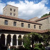 The Cloisters is located in a park on a high hill overlooking the Hudson River, in Manhattan, New York City