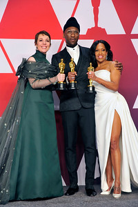 """ACADEMY AWARDS 91ST OSCARS PRESSROOM HELD AT THE LOWES HOTEL IN HOLLYWOOD CALIFORNIA ON FEBRUARY 24,2019. BEST ACTRESS OLIVIA COLEMAN """"THE FAVOURITE""""  MAHERSHALA ALI & REGINA KING BEST SUPPORTING ACTOR """"GREEN BOOK"""" & REGINA KING BESYT SUPPORTING ACTOR """"IF BEALE STREET COULD TALK"""" PHOTOGRAPHER VALERIE GOODLOE"""
