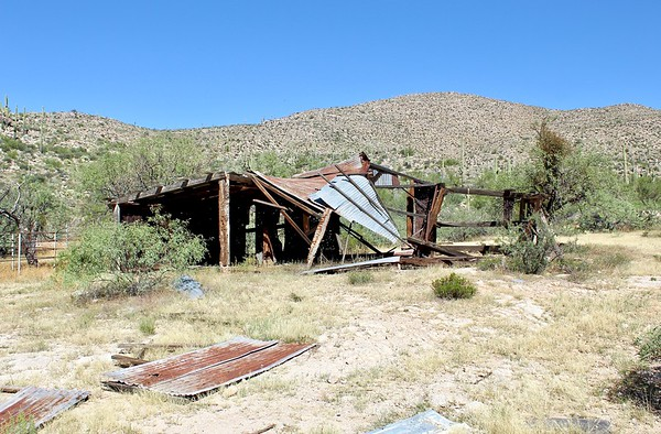 Collapsed outbuilding at the 96 Ranch (2018)