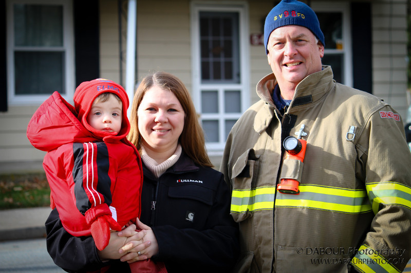 Fire Chief Joe with his daughter in law shannon and his grandson Joey
