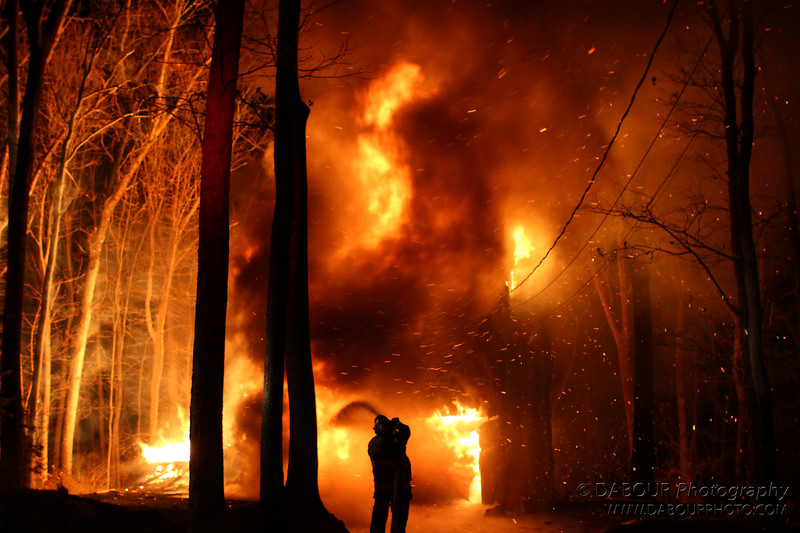 There were so many hot embers spewing from the structure I'm amazed nothing else caught fire