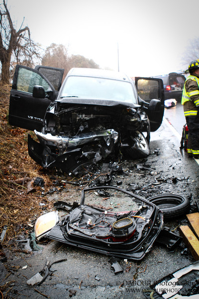 One of two vehicles involved in a two vehicle collision on State Route 173 in Greenwich Twp. NJ.