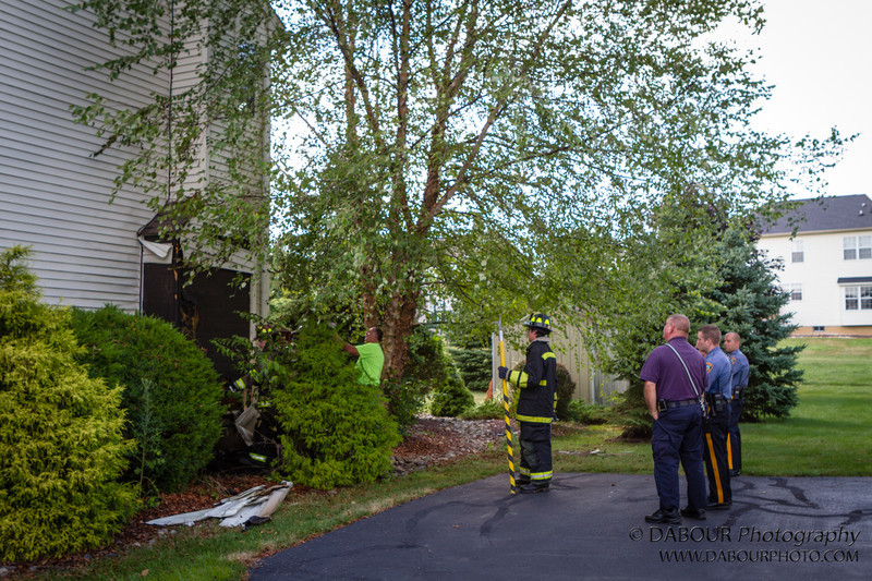 98 Fire responds to a call of a structure fire. Upon arriving they find the fire was already extinguished by a homeowner. Good thing as the mulch fire had already spread up the fireplace exterior and damaged the siding.