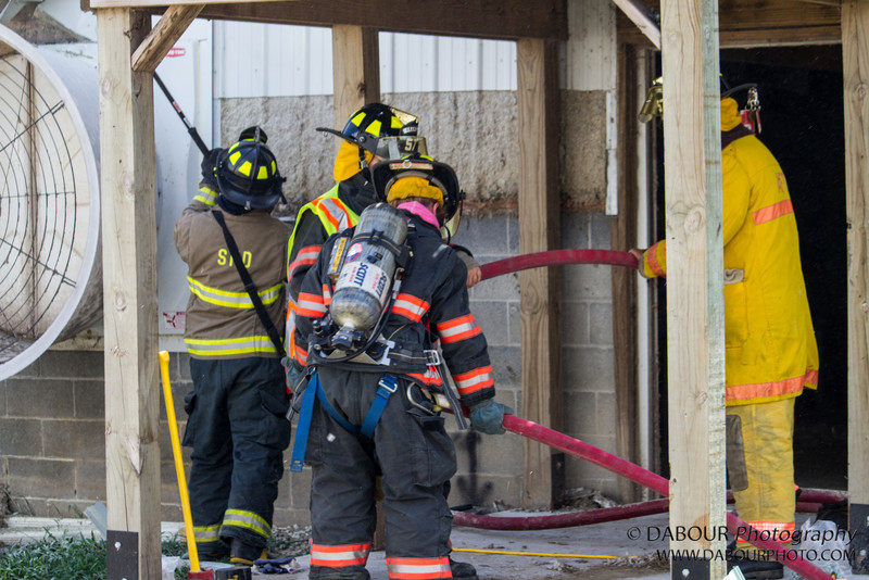 Members of Stewartsville and Franklin Fire departments respond to a call of a structure fire at Ise Farms in Franklin Twp. Upon arriving they found the fire was out but a hot spot in the externior wall.