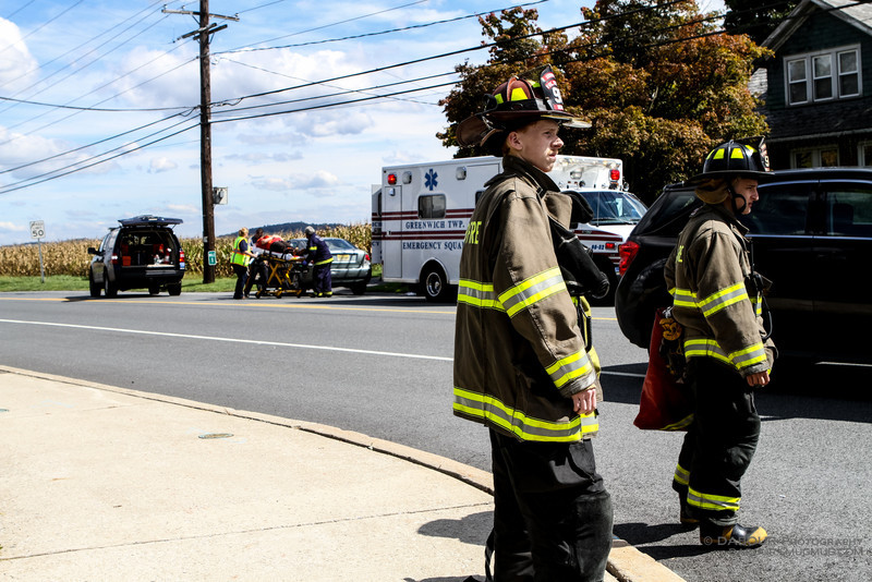 Members of the Stewartsville Fire and Rescue respond to a three car accident in Stewartsville at the intersection of Valerie Pl. and Greenwich Street shortly before 1pm today. Air bags were deployed in the accident.