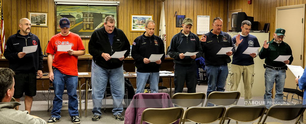 2013 Officers for Stewartsville Vol. Fire Co. L-R Lt Karl McAleer, Lt Mike Mecsey, Lt Phil Carlton, Asst Chief Kevin Young, Captain Joe Mecsey IV, Chief Joe Mecsey III, Lt Scott Meers and Fire Police Captain Bill Wyant