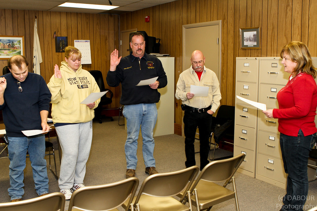L-R Matt Klouser (Lieutenant 98-90), Tonya Mecsey (Lieutenant 93-93), Joe Mecsey III (Fire Chief), Bill Wyant (Fire Police Captain), Kim Viscomi (Twp. Clerk)