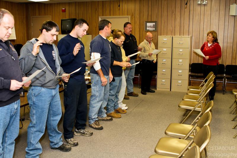 L-R Kevin Young, Chris Dittmar, Joe Mecsey IV, Scott Meers, Matt Klouser, Tonya Mecsey, Joe Mecsey III, Bill Wyant, Kim Viscomi (Twp. Clerk)