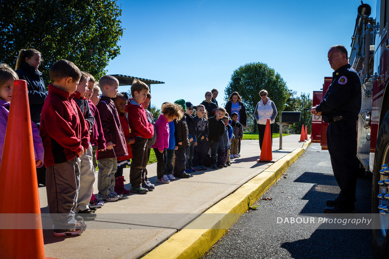 Members of the Stewartsville Vol. Fire Co. go to the Greenwich Elementary School  for their annual FIre Prevention Week visit.