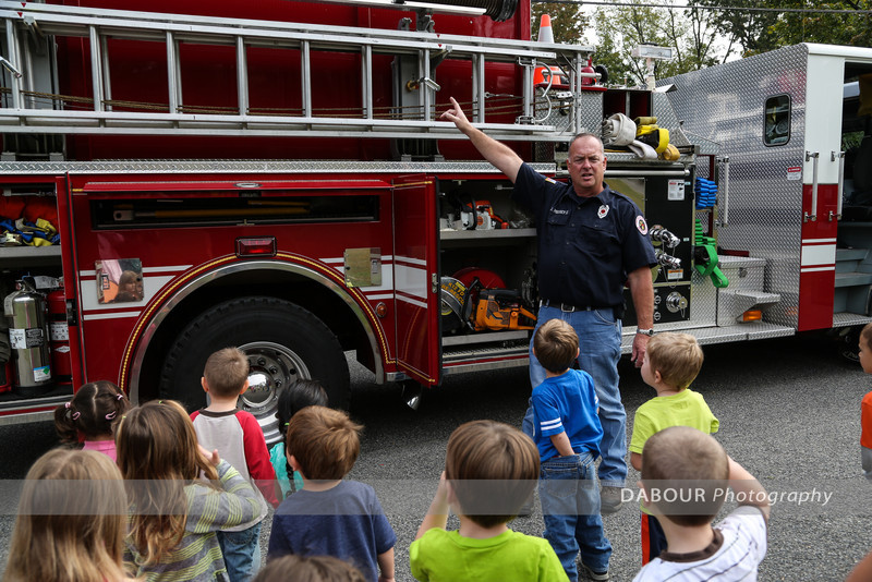 Photos of 98 Fire visiting the Greenwich Nursery School for Fire Prevention week 2013.