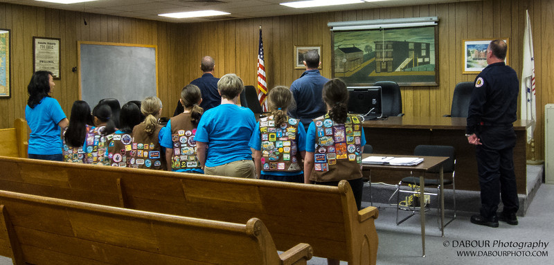 Girl Scout Brownie Troop #90694 of Stewartsville, NJ leads the Pledge of Allegiance at the May monthly meeting of the Stewartsville Vol. Fire Co. Photo by | DAVE DABOUR
