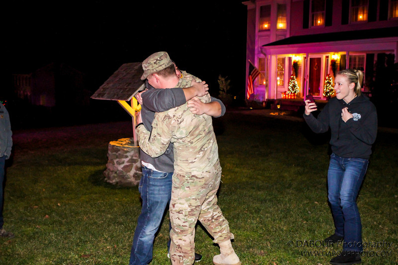 Members of Stewartsville Fire campany and surrounding first responders welcome home Ryan Kanyuck from the US Army