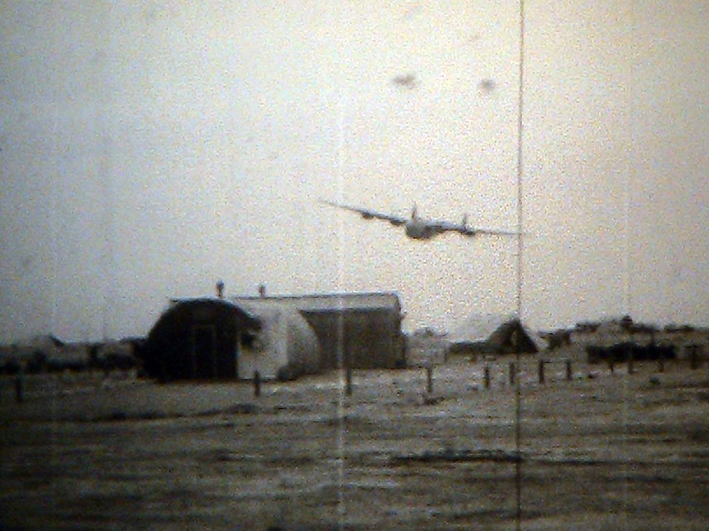 Performing low-level flying over base on North Africa during the visit of Capt. Rickenbacker. From the film: <br /> <br /> CAPT. RICKENBACKER VISITS 98TH BOMB[ARDMENT] GROUP, LEYTE AND LIBYA <br /> ARC Identifier 3026 / Local Identifier 18-CS-169 <br /> Moving Images from the War Department. Army Air Forces. (06/20/1941 - 09/26/1947)<br /> Motion Picture, Sound, and Video Records Section, Special Media Archives Services Division, College Park, MD <br /> Item from Record Group 18: Records of the Army Air Forces, ca. 1902 - 1964