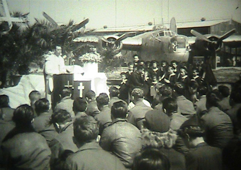 From the film: <br /> <br /> EASTER SERVICES, 98TH [NINETY-EIGHTH] BOMB[ARDMENT] GROUP, 15TH [FIFTEENTH] AIR FORCE <br /> ARC Identifier 4966 / Local Identifier 18-CS-3586 <br /> Moving Images from the War Department. Army Air Forces. (06/20/1941 - 09/26/1947)<br /> Motion Picture, Sound, and Video Records Section, Special Media Archives Services Division, College Park, MD <br /> Item from Record Group 18: Records of the Army Air Forces, ca. 1902 - 1964