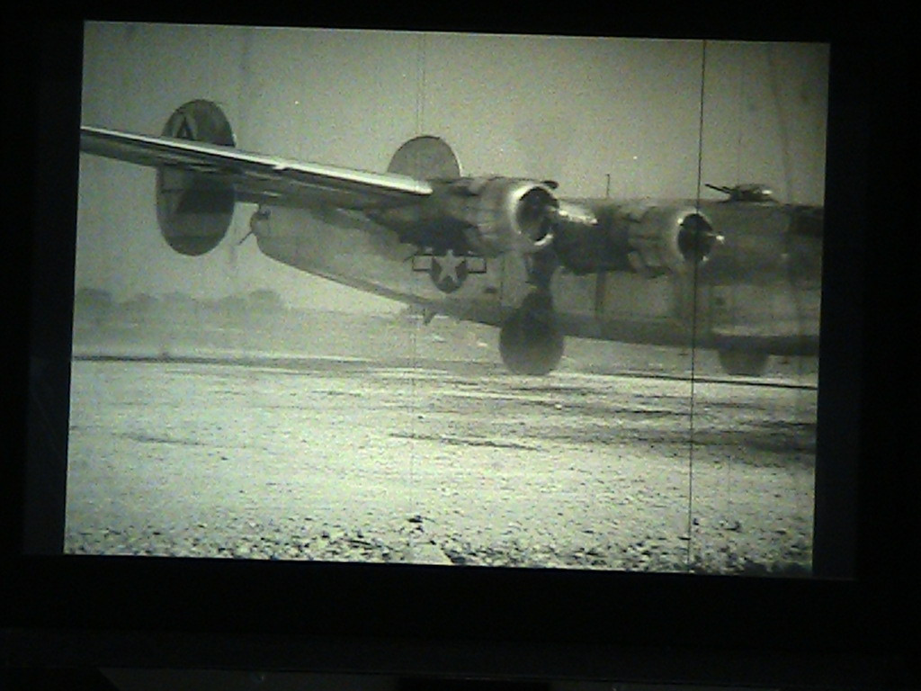 A still taken from the film, as 526-L lands and rolls to a stop. Lt. Col. Sal Manzo (pilot of 526-L, my grandfather was co-pilot) steps out to be interviewed after the flight. Unfortunately it is a silent film.