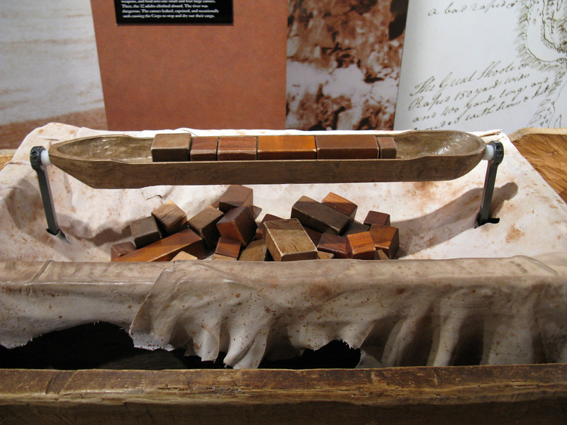 A museum illustration of how their cargo may have been packed in the dugout canoes.  At this point they still probably had 2,000 pounds of cargo. (Tools, cook pots, tarps, medical supplies, etc).