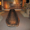 A rough dugout canoe that was discovered sunk in a river.