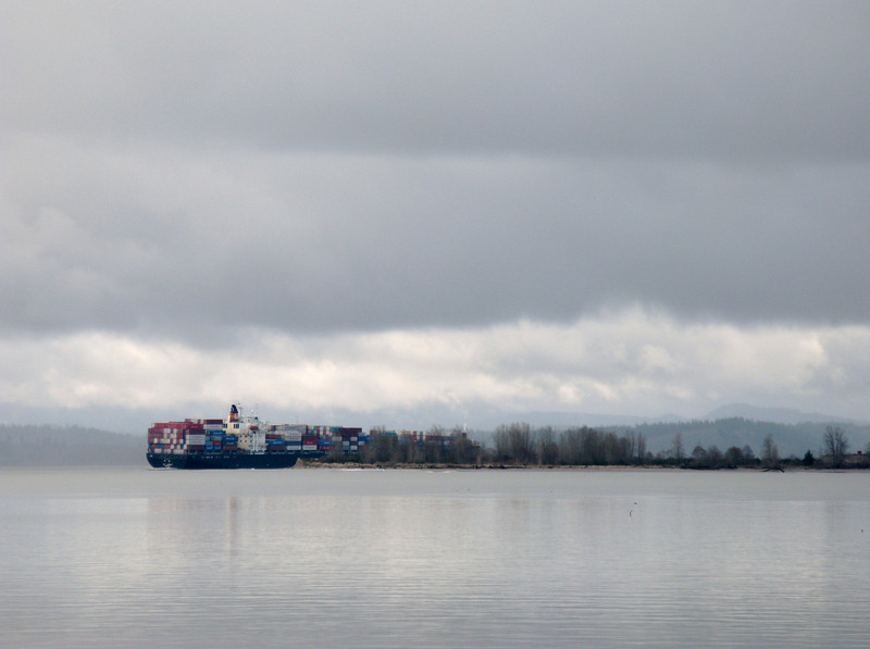 Chinese cargo ship navagating up the Columbia.