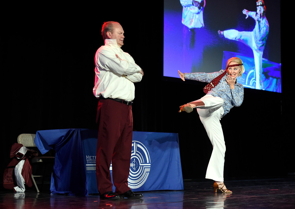 . BROOMFIELD, CO - SEPTEMBER 20, 2018: Gregg Moss dances with Allison Johnson during the Ninth Annual Dancing with the Broomfield Stars fundraiser hosted by the Broomfield Community Foundation on Thursday at the 1st Bank Center in Broomfield. For more photos of the event go to dailycamera.com (Photo by Jeremy Papasso/Staff Photographer)