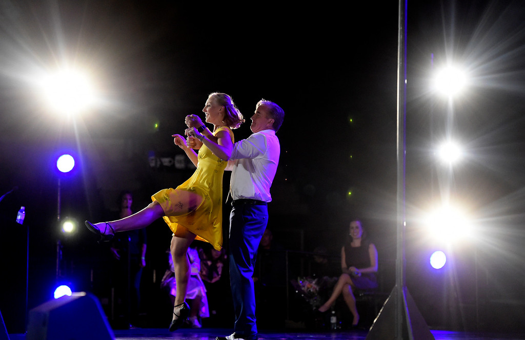 . BROOMFIELD, CO - SEPTEMBER 20, 2018: David Shinneman dances with Stephanie McGill during the Ninth Annual Dancing with the Broomfield Stars fundraiser hosted by the Broomfield Community Foundation on Thursday at the 1st Bank Center in Broomfield. For more photos of the event go to dailycamera.com (Photo by Jeremy Papasso/Staff Photographer)
