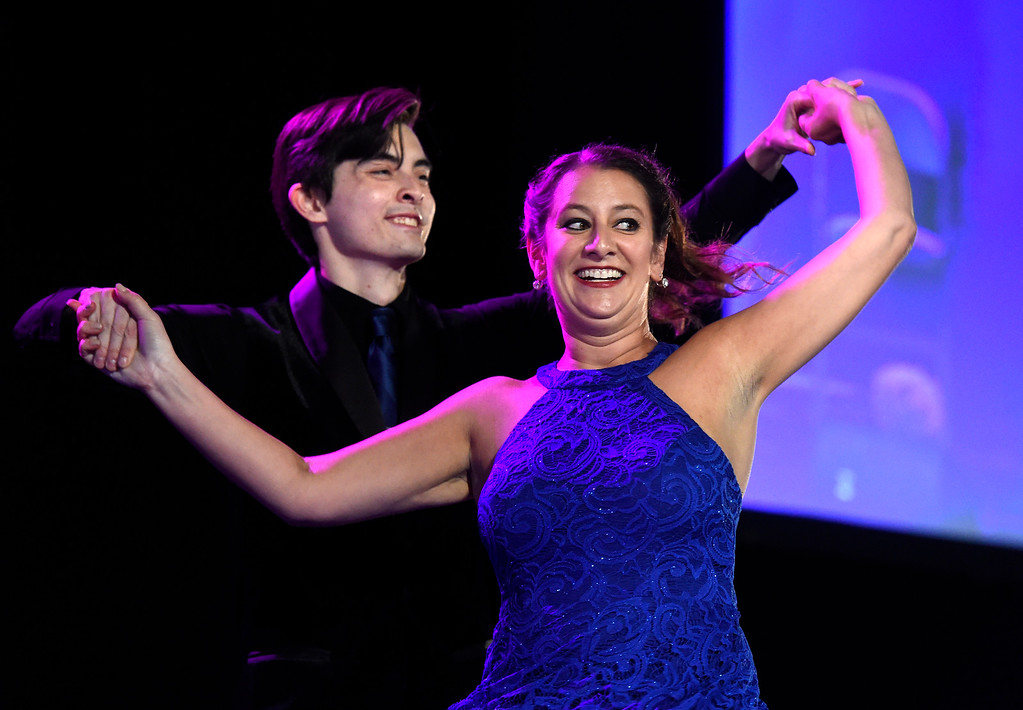 . BROOMFIELD, CO - SEPTEMBER 20, 2018: Barbara Gart dances with Jason Saxe during the Ninth Annual Dancing with the Broomfield Stars fundraiser hosted by the Broomfield Community Foundation on Thursday at the 1st Bank Center in Broomfield. For more photos of the event go to dailycamera.com (Photo by Jeremy Papasso/Staff Photographer)