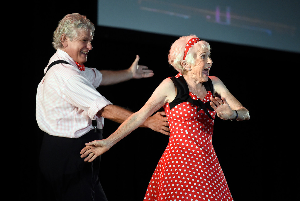 . BROOMFIELD, CO - SEPTEMBER 20, 2018: Jean Markel dances with Roberto Muñoz during the Ninth Annual Dancing with the Broomfield Stars fundraiser hosted by the Broomfield Community Foundation on Thursday at the 1st Bank Center in Broomfield. For more photos of the event go to dailycamera.com (Photo by Jeremy Papasso/Staff Photographer)