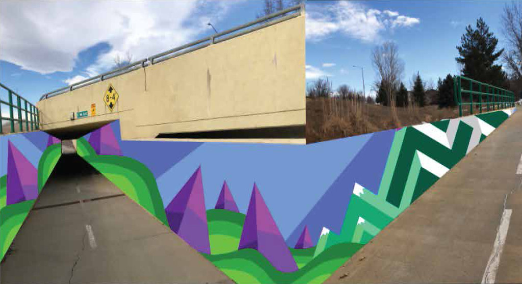 . Milbery proposed mural location on the underpass of 9th Avenue and Alpine Street in Longmont.  (Courtesy City of Longmont)