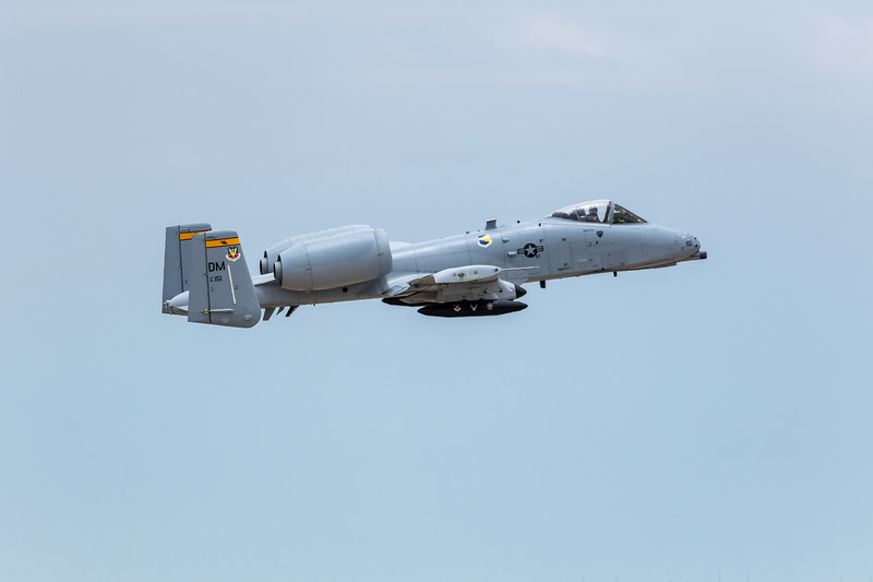 "-(Aircraft)  Fairchild Republic A-10C Thunderbolt II<br /> -(Nation & Service) United States Air Force<br /> -(Squadron) 357th Fighter Squadron ""Dragons""<br /> -(Home Base) Davis–Monthan Air Force Base, Arizona<br /> <br /> *Note: Flying as part of the 2018 A-10 Demo Team"