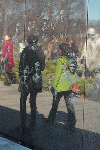 Korean war memorial. Wall reflection.