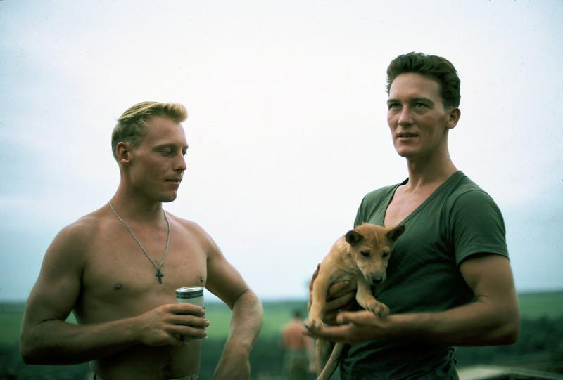 Rick Butke, Lt. Skidmore holding pup