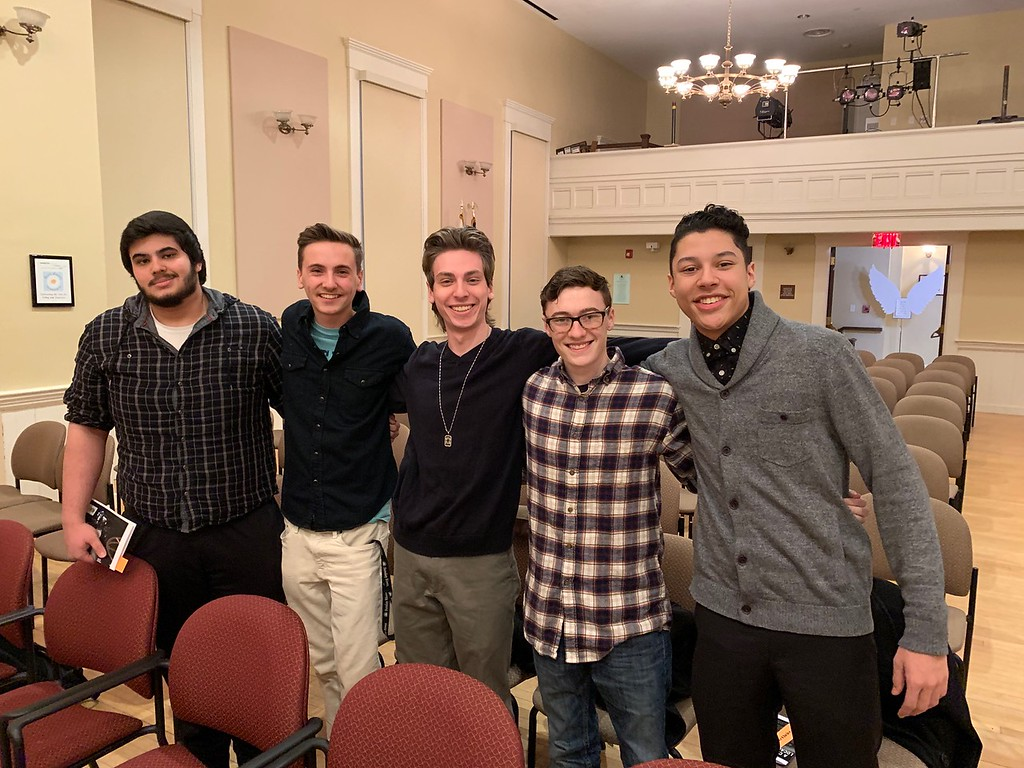 . Movie stars from Fitchburg State University, from left, Anthony Denhan, Trevor Cormier, Maximilian Simonelli, Owen King and Robert LeBlanc