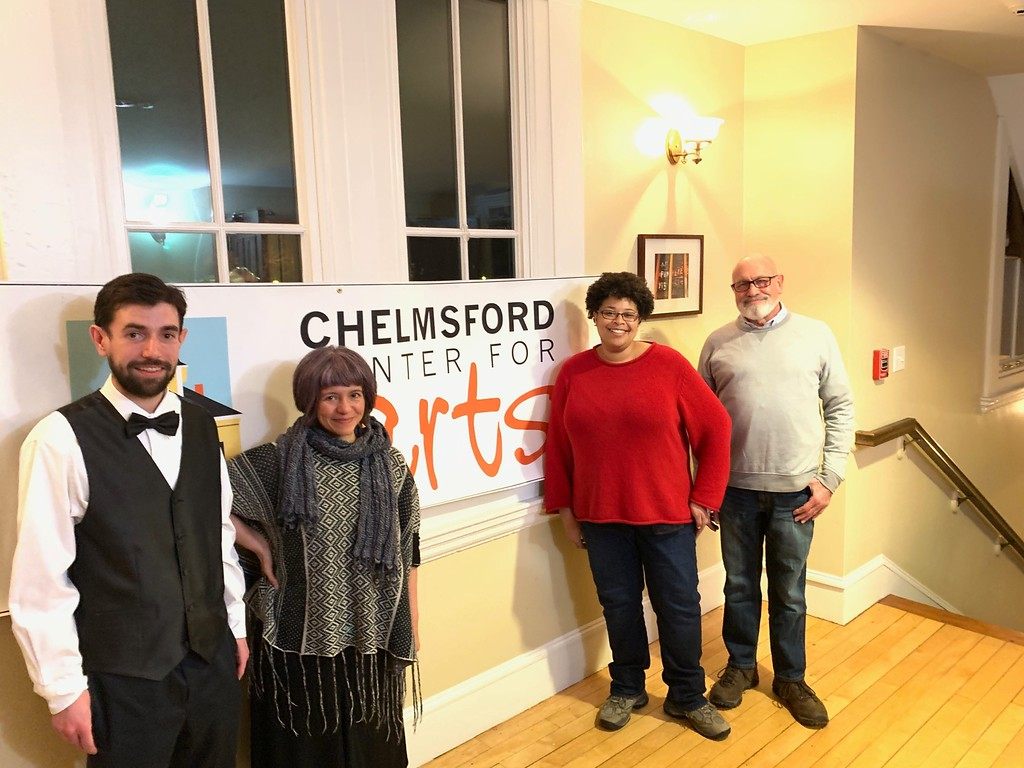 . From left, CTM Chairman and Master of Ceremonies Patrick Snow of Chelmsford, with judges Suzzanne Cromwell of Lowell, Melva James of Watertown and Art Cohen of Brookline