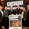 Joe Murphy, left, Region VP, Dustin Whitlock, Cinemark Gen. Manager, Mark Zoradi, CEO of Cinemark, Jeff Cheney, Mayor of Frisco, Iris Meneley, Prosper Chamber of Commerce, and Tony Felker, right, Frisco Chamber of Commerce, announce the opening of CUT! by Cinemark in Frisco, Texas.<br /> <br /> CUT! by Cinemark hosted its invitation-only VIP party in celebration of the brand new, innovative dine-in theatre on Wednesday, March 6, 2019 in Frisco, TX. <br /> Guests were treated to chef-prepared menu items, craft cocktails, popcorn, soft drinks and movie-watching. (Photo courtesy of Cinemark)