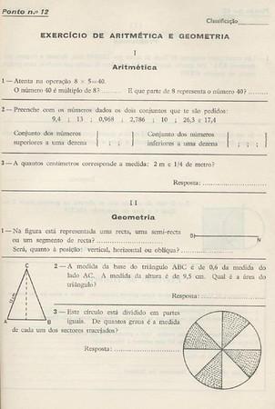 prova de Aritmética e Geografia